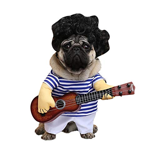 LLtidmsWL Pet Clothes Clothes for Dog Cat Puppy Hoodies Coat Sweater Dog Outfits Stripe Guitar Funny Pet Dog Cat Halloween Costume Party Festival Outfit Apparel M
