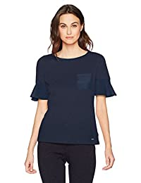 Nautica Womens Short Sleeve Knit Top with Woven Ruffle Sleeve Blouse