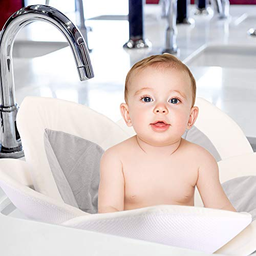 41gKMop%2BbKL - Baby Bath - Flower Baby Bath Pad Infant Bathtub Mat For Bathtub Tub Sink - Gray2