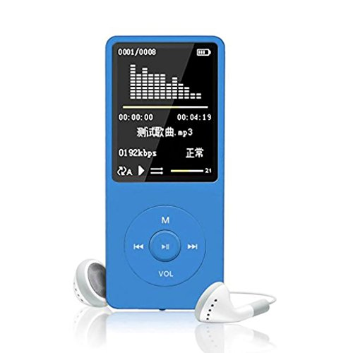 OVERMAL 70 Hours Playback MP3 MP4 Lossless Sound Music Player FM Recorder TF Card Up to 128GB (Blue)