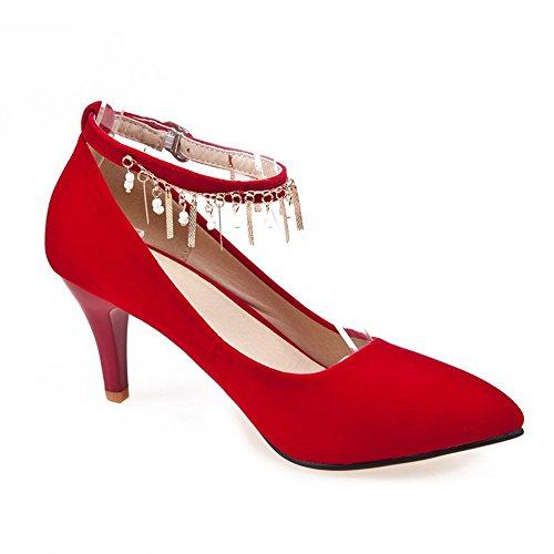 VogueZone009 Damen Hoher Absatz Rein Schnalle Spitz Zehe Pumps Schuhe Rot