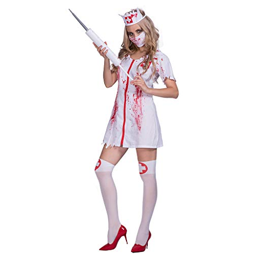 Plus Size Zombie Nurse Costume (EraSpooky Killer Caregiver Adult Zombie Bloody Nurse Costume (Plus Size))