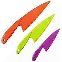 Plastic Kitchen Knife for Kids Toddler, Nylon Cooking Knives Set for Children's Safe for Fruit, Bread, Cake, Pastry…