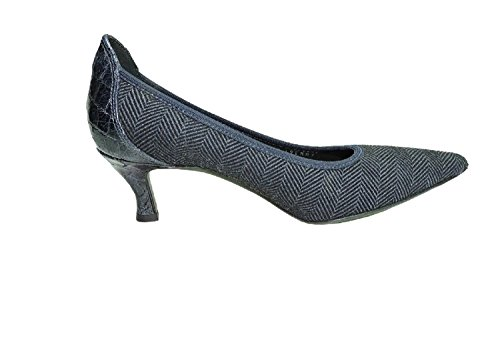 Donald J Pliner Couture Emmy Navy Herringbone Stretch & Alligator Trim Women's Heels Pump,9 N, AA