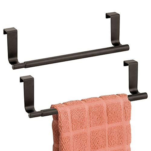 """mDesign Adjustable, Expandable Kitchen Over Cabinet Towel Bar Rack - Hang on Inside or Outside of Doors, Storage for Hand, Dish, Tea Towels - 9.25"""" to 17"""" Wide, 2 Pack - Bronze"""