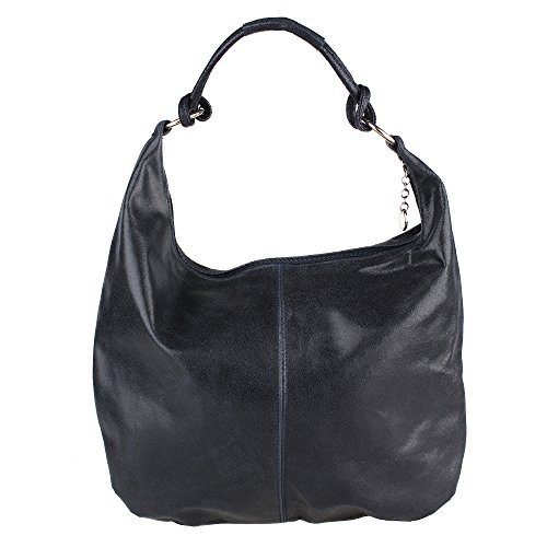 Chicca Borse Bag Italy Blue Leather Large Cm Woman 45x35x4 Handle Genuine With Made Shoulder In Dark fPq5xFq