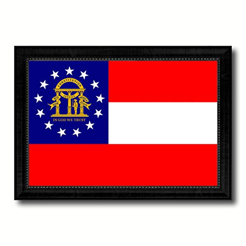 (Georgia State Flag Canvas Print with Custom Black Picture Frame Gifts Home Decor Wall Art Decoration 19