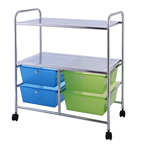 Craft Storage Cart With Wheels - 4 Drawer Bundle w Multiple Compartments Organizer Case