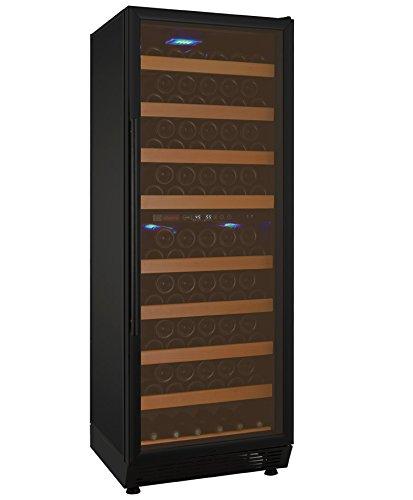 (Allavino YHWR99-2BRN 99 Bottle Dual-Zone Wine Cellar Refrigerator - Black Door with Hinge on Right)