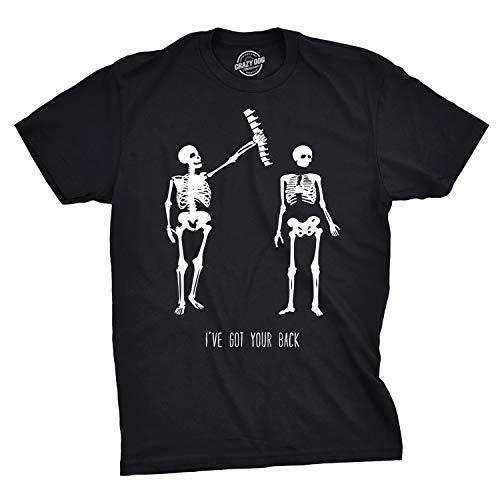 - Crazy Dog T-Shirts Mens Got Your Back Funny Skeleton Best Friend T Shirt (Black) - L