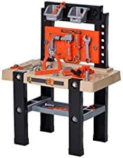 Qaba 64-Piece Kids Play Workbench and Construction Tool Set Pretend Playset Toy with Shelf Storage Box