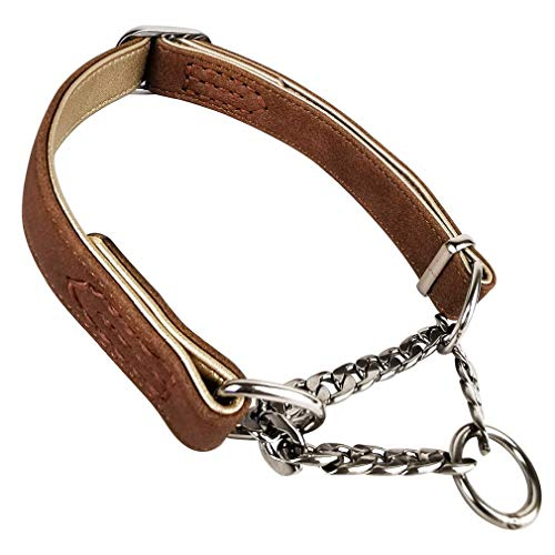 Tongabc Dog Chain Collar Leather Training Dog Collar, Martingale Collar, Stainless Steel Chain - for Medium Large Pets (L, Brown)