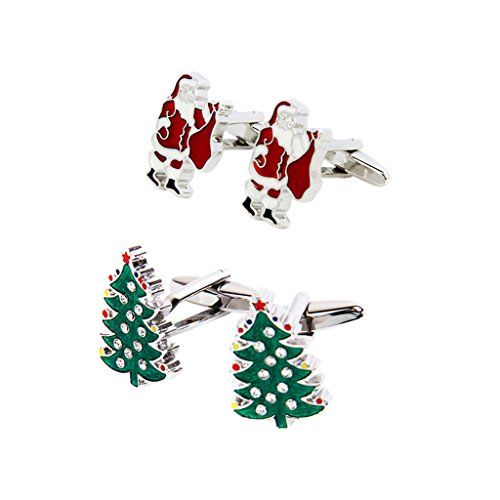 Christmas Tree Cufflinks - MonkeyJack 2 Pair Men Classic Wedding Cufflinks Christmas Tree Santa Claus Cufflinks