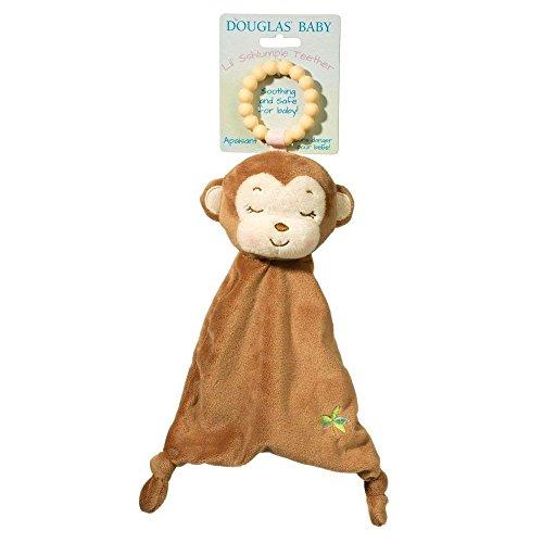 Douglas Baby Lil Sshlumpie Plush Brown Monkey Teether with Blanket