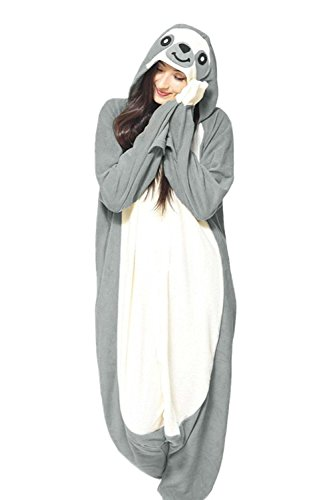 Jormarcos Adult Unisex Animal Cosplay Pajamas New Sloth Costumes Homewear Onesie (X-Small, Gray) ()