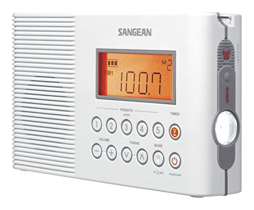 Sangean H201 Portable AM/FM/Weather Alert Digital Tuning Waterproof Shower Radio