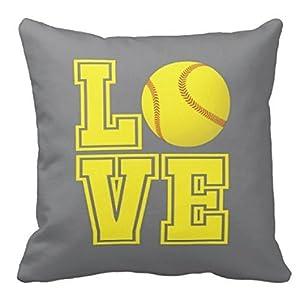 Softball Pillowcases & Cover, Pool, Purple LOVE, Yellow Ball - ANY COLORS, Girl's Custom Throw Pillowcover, 16x16