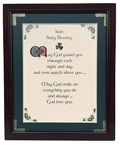 Irish Baby Blessing - May God Guard You - Personalizable Framed Green Matted Blessing