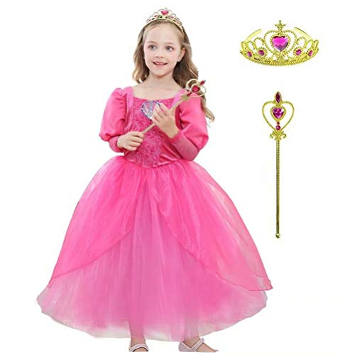 Tsyllyp Girls Princess Sleeping Beauty Costume Aurora Halloween Dress Up with Crown Wand