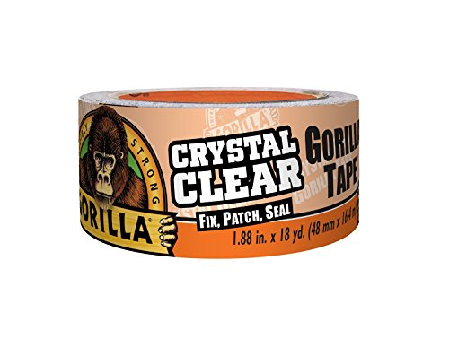 Gorilla 6060002 Crystal Clear Duct Tape, 1.88 inch x 18Yd, Clear (Plastic Tape Vinyl)