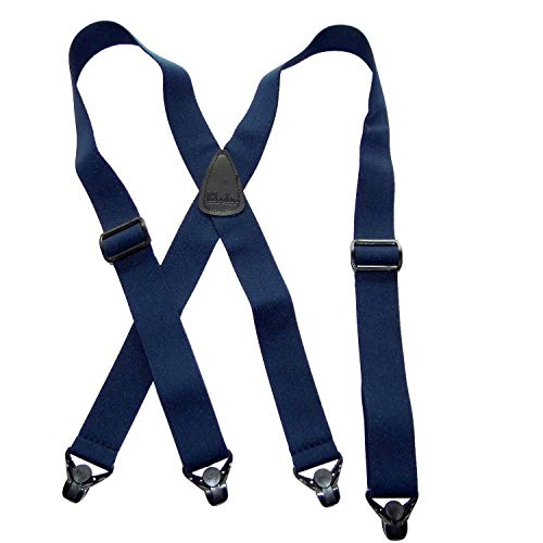 Holdup Brand Big and Tall XL No-buzz Airport Friendly Navy Blue Suspenders with Patented Gripper Clasp