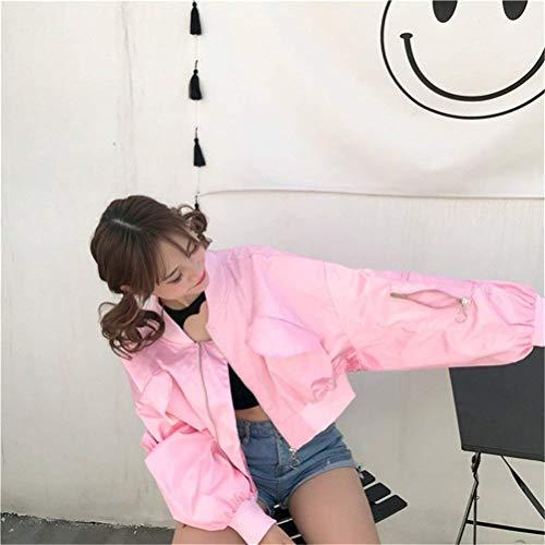 Tempo Bomber Sciolto Lunghe Tendenza Eleganti Fidanzato Corto Colore Hell Pilot Giacca pink Cute Puro Donna Autunno Fashion Chic Ragazze Maniche Libero Giubbino 5AP0wO
