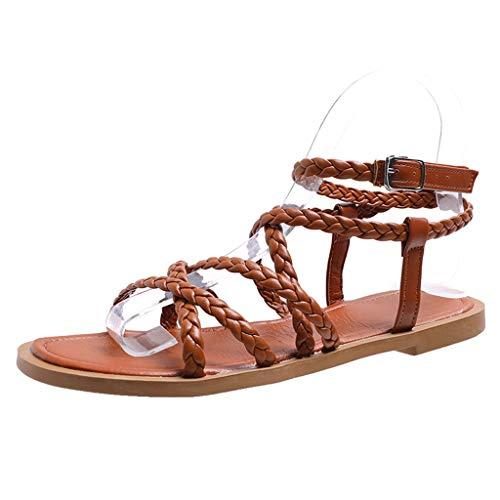 (JUSTWIN Women's Fashion Weaving Shoes Summer Open Toe Flat Sandals Rome Large Size Retro Wild Elegant Flat Beach Sandals Brown)