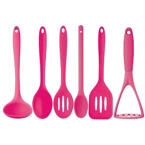 New Kitchen Craft Pink 6 Pc Silicone Cooking Utensils Ladle Masher Turner  Spoons: Amazon.co.uk: Electronics