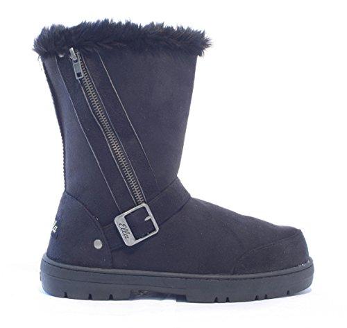 Ella Schuhe Libby Kunstfell warm winter Stiefel, Gr. 36-42 Schwarz