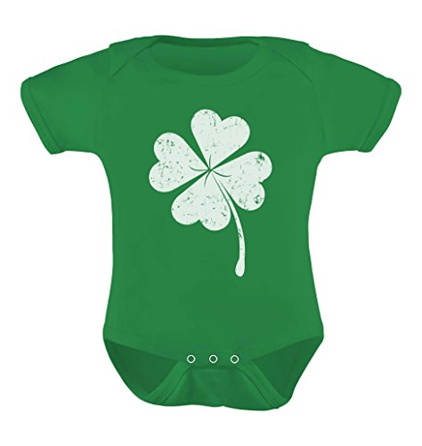 [St. Patrick's Distressed Clover - Lucky Shamrock Baby Bodysuit Newborn Green] (St Patricks Day Shirts For Toddlers)
