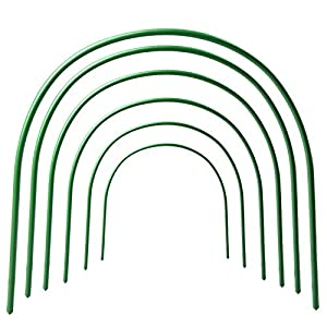 TRIEtree Greenhouse Support Hoops, 6Pcs 4ft Long Steel Plastic Coated Hoops Protection Net Hoops Support Hoops Bracket Greenhouse