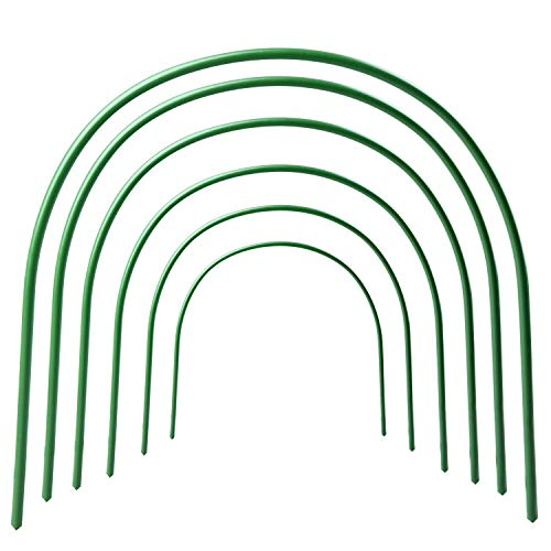 TRIEtree Greenhouse Support Hoops, 6Pcs 4ft Long Steel Plastic Coated Hoops Protection Net Hoops Support Hoops Bracket Greenhouse by TRIEtree