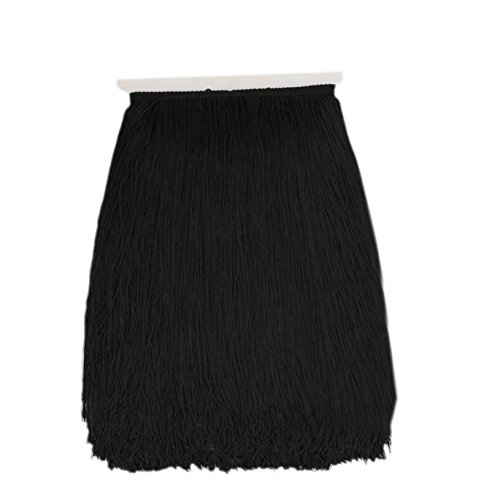 10Yard/Lot 30CM Polyester Tassel Fringe Lace Trimming for DIY Latin Dress Stage Clothes Fabric Accessories (Black) by meizhouer