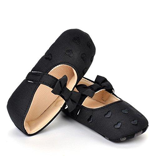 estamico Baby Girl cómodo con lazo de Princess Toddler Zapatos negro negro Talla:3-6 meses negro