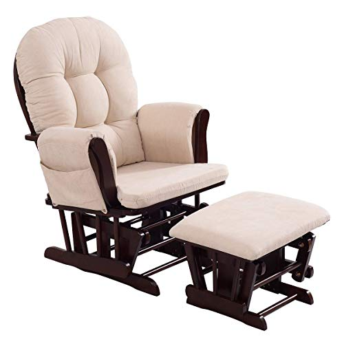Costzon Baby Glider and Ottoman Cushion Set, Wood Baby Rocker Nursery Furniture, Upholstered Comfort Nursery Chair & Ottoman with Padded Arms ()