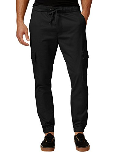 Joggers Pants For Men Fashion Cotton Twill Chino Pants Regular Fit Black 32W30L