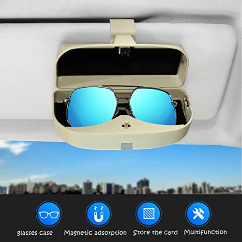 Dualshine Car Sun Visor Glasses Case Holder Clip, Eye Sunglasses Organizer Mount with Ticket Card Clip- Apply to All Car Models (Black)