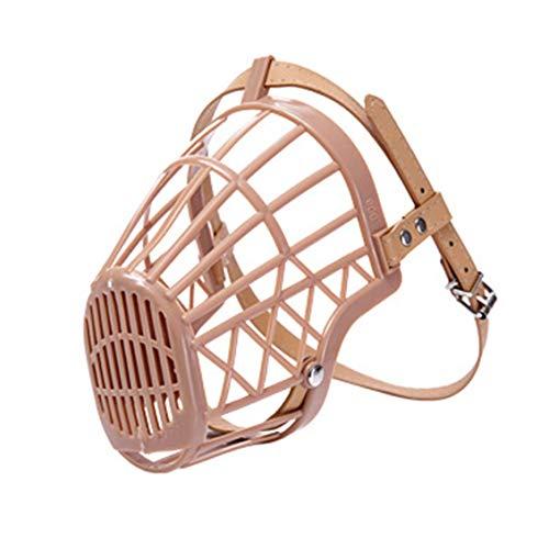 gbeiyuanquw Dog Muzzle Basket Anti-Biting Mouth Cover Dog Adjustable Straps Mask Beige Pink