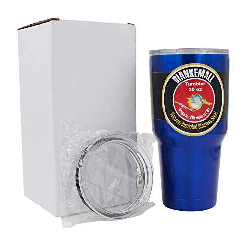 Premium Tumbler | 30 Oz Stainless Steel Travel Rambler Cup | Vacuum Insulated Coffee Mug | 2 Anti Splash Lids (1 Standard & 1 Sliding) | Works Great For Hot Beverages | Keeps Ice Longer - Blue