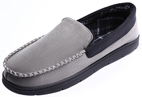 Slippers Moccasin Outdoor Black Indoor and Grey Sole Pile Lined MIXIN Rubber Suede Men's Casual Micro Flats qZAH7