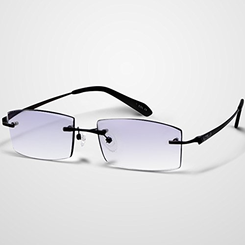 LifeArt Blue Light Blocking Computer Glasses Rimless Cut Edge Rhinestone Inlayed Gradient Grey Reading Glasses for - Petite Small Faces For Glasses