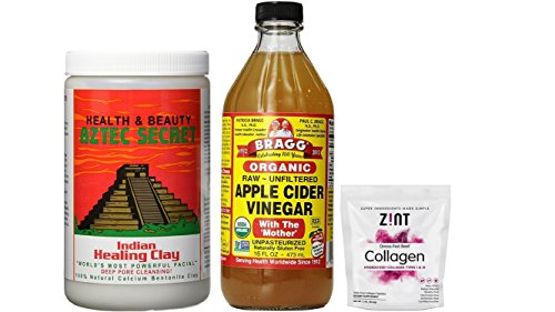 Aztec Secret Indian Healing Clay (2 lbs) + Braggs Apple Cider Vinegar (16 oz) + Zint Hydrolyzed Collagen Powder (2 oz)