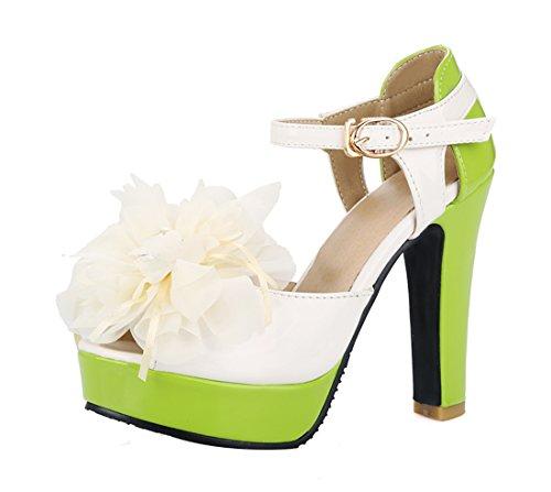 YE Damen Süß High Heels Peeptoes Riemchen Sandalen mit Blockabsatz und BlueM 12CM Absatz Sommer Schuhe Grüne