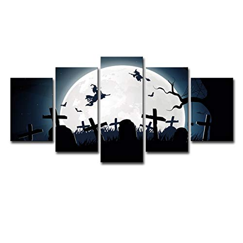 XINGWENXUE Creative Home 5 Wall Art Cartoon Halloween Witch Home Wall Decoration ()