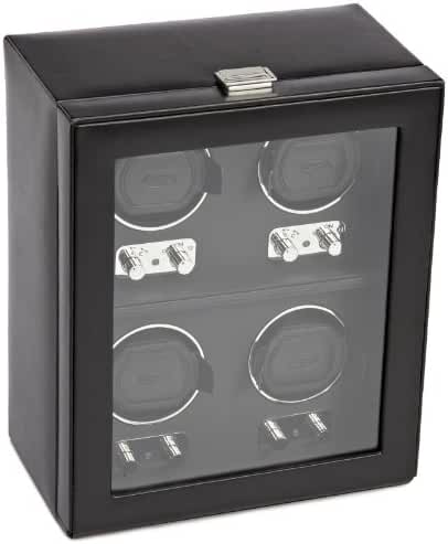 WOLF 270602 Heritage Four Piece Watch Winder with Cover, Black