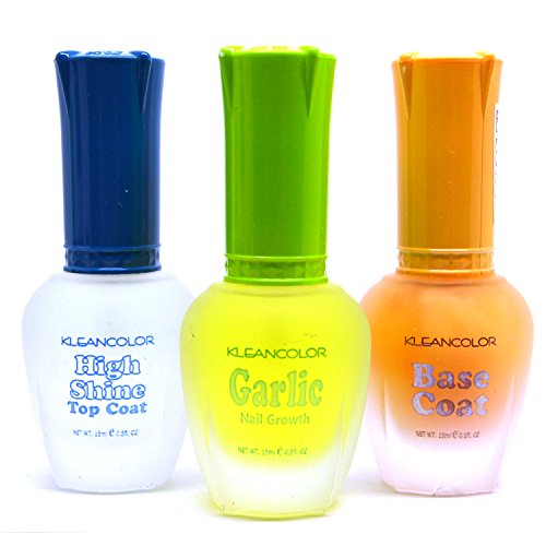- 3 Kleancolor Nail Polish Top Base Coat Garlic Growth Treatment Lacquer + FREE EARRING