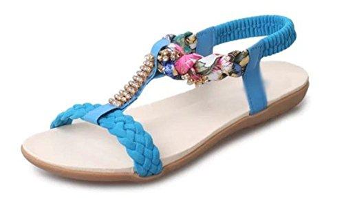 Verano sandalias abiertas superficie blanda con sandalias planas bajo para ayudar a sandalias de las mujeres de la universidad Blue