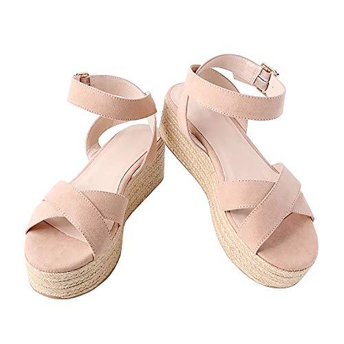 Syktkmx Womens Strappy Flatform Espadrille Sandals Summer Slingback Platform Ankle Strap Sandals D-Pink