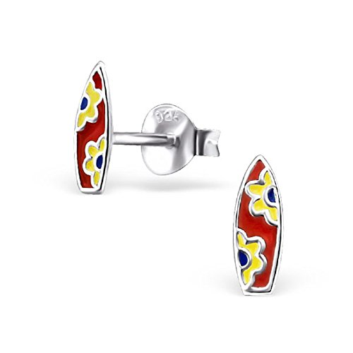 (ICYROSE 925 Sterling Silver Yellow & Red Surfboard Stud Earrings 22246)