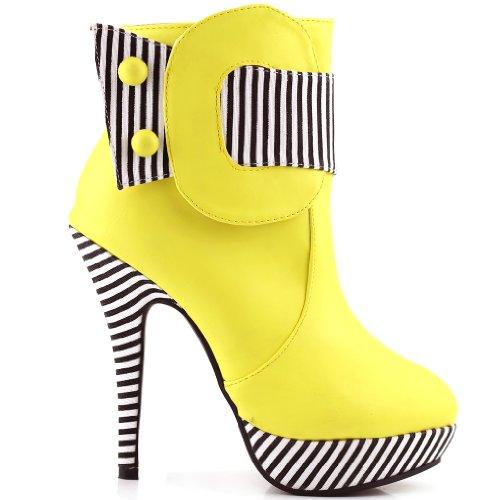 Show Story Yellow Striped Button Zipper High Heel Stiletto P